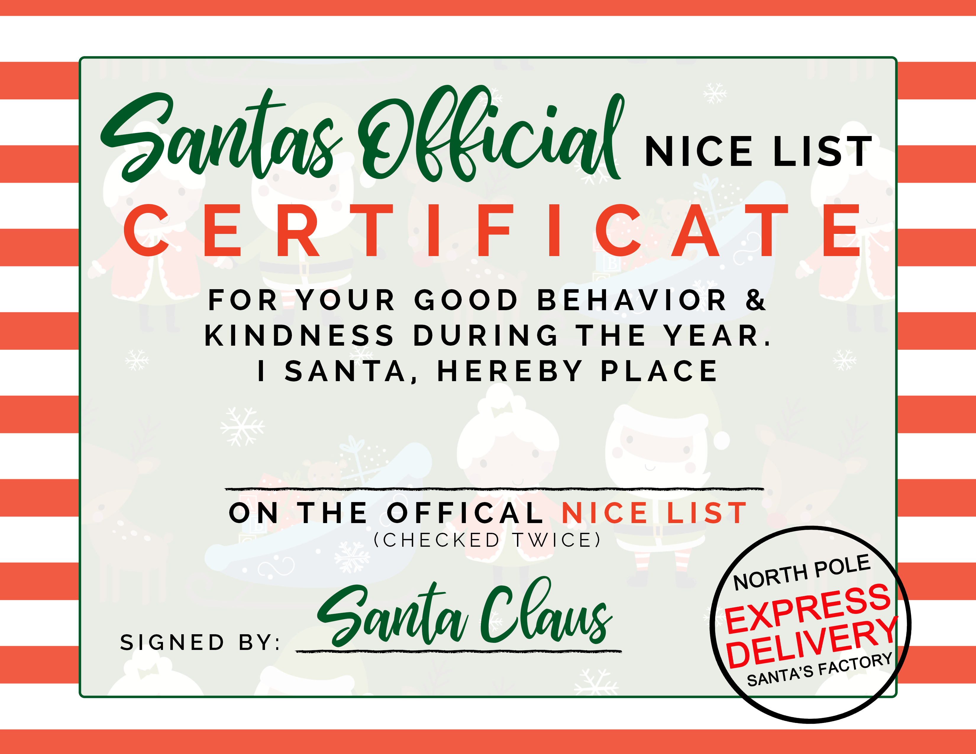 Santa S Nice List Free Printable Las Vegas Fit Mom